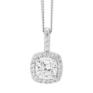 SS WH 6mm Cushion Cut CZ w/ WH CZ Surround Pendant