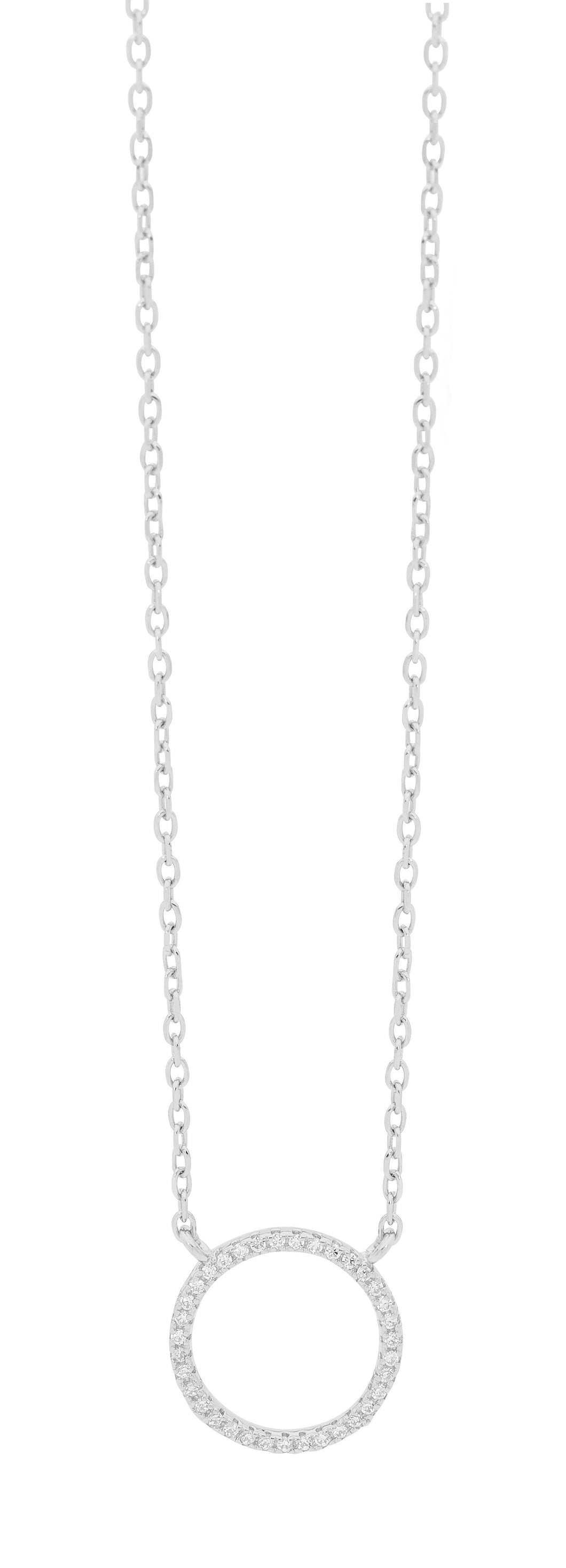 SS 18mm WH CZ Circle Pendant w/attached chain