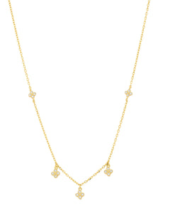 SS 4 WH CZ Cluster Crown set Necklace w/ Gold Plating