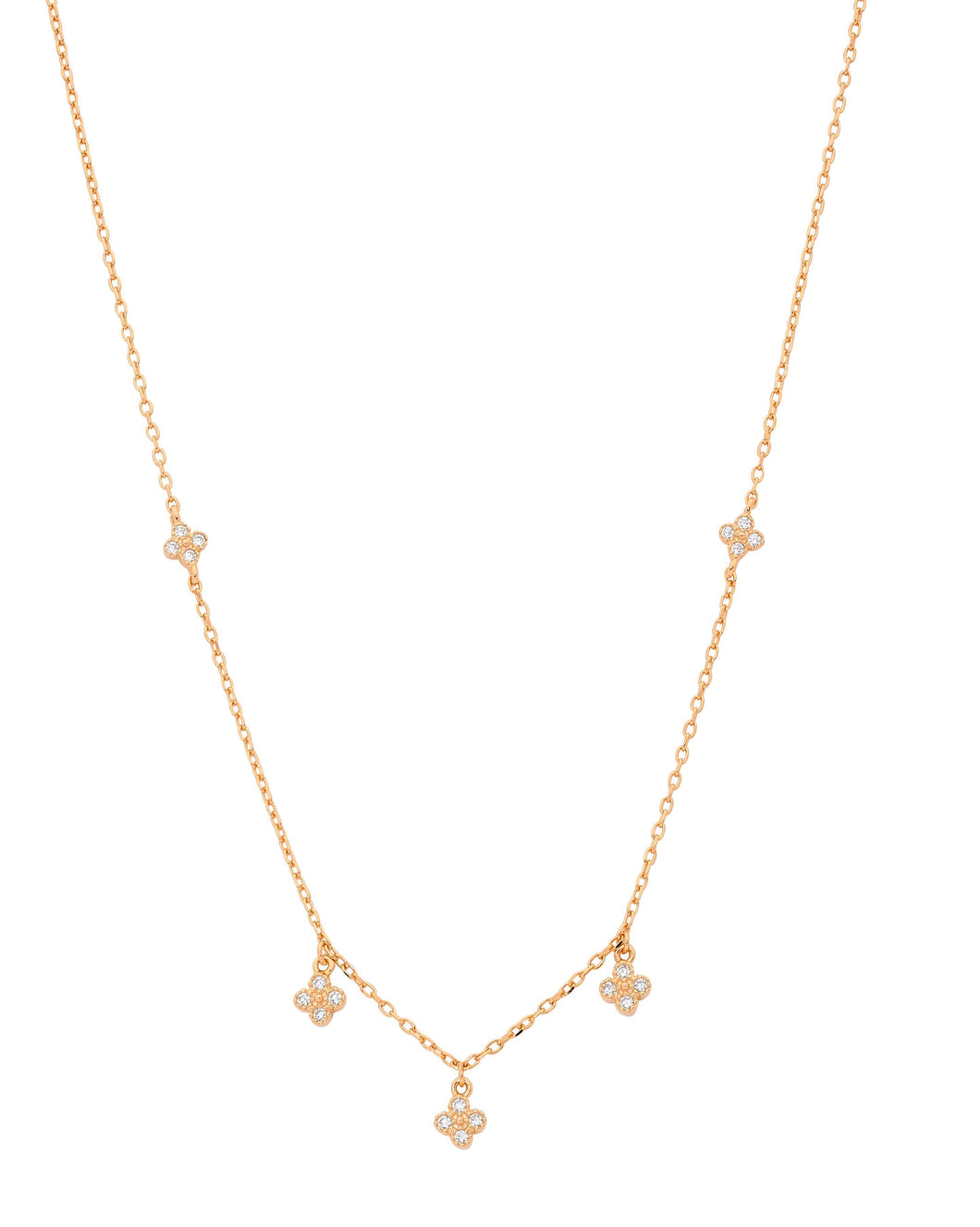 SS 4 WH CZ Cluster Crown set Necklace w/ Rose Gold Plating