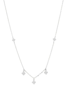 SS 4 WH CZ Cluster Crown set Necklace