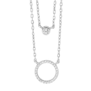 SS Dble Chain Necklace w/ WH CZ Bezel Solitaire & Circle