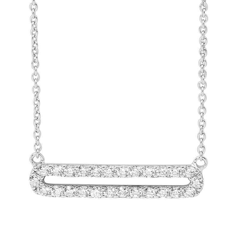 SS WH CZ Open Oval Pendant w/ attached chain
