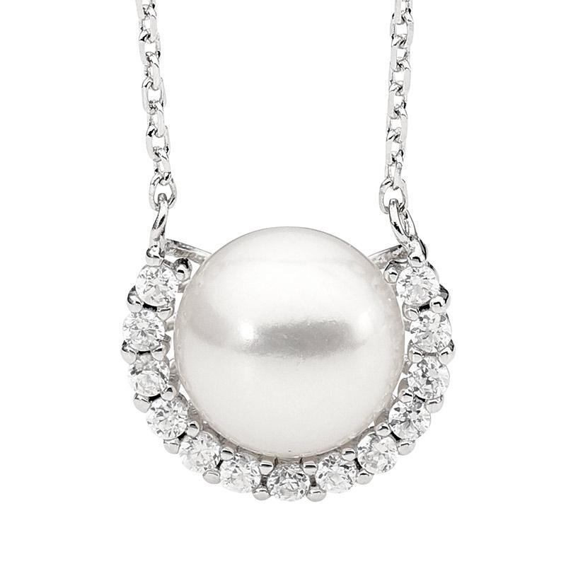 SS Freshwater Pearl w/ WH CZ half surround pendant w/attch chain
