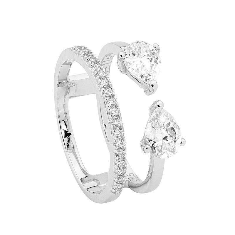 SS WH CZ band & split band w/ 2xPear WH CZ Ring