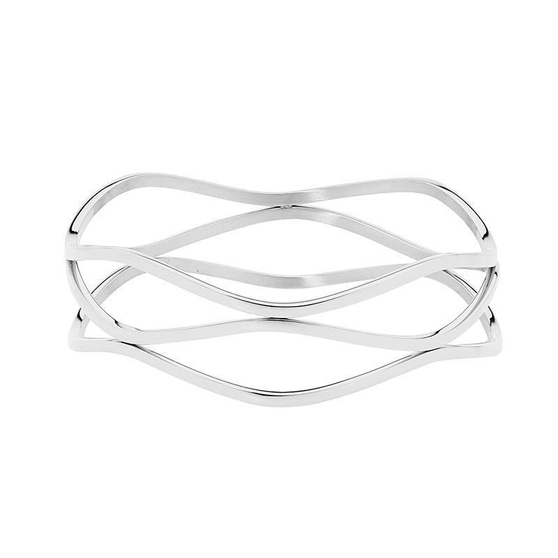 Stainless Steel triple wave bangle