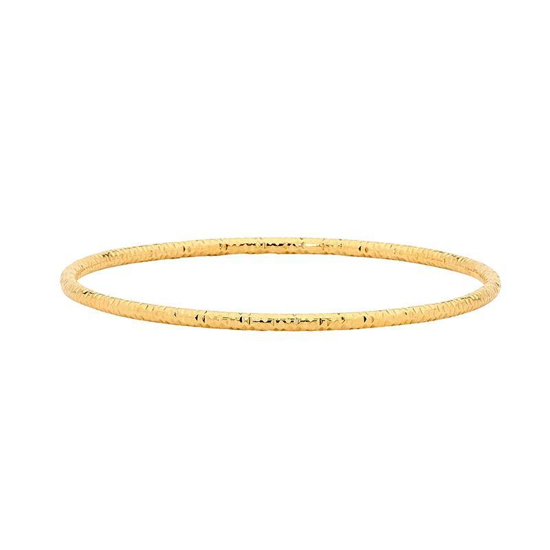 Stainless Steel bangle w/ etched pattern & Gold IP Plating
