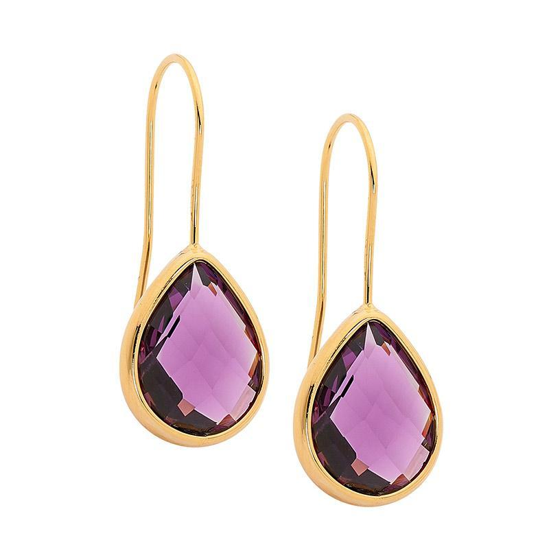 Stainless Steel earrings w/ Amethyst Glass Pear & Gold IP Plating