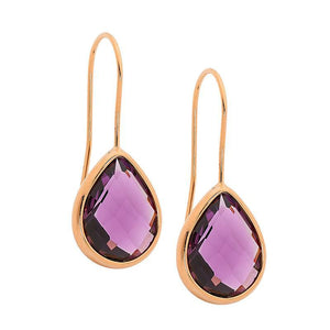 Stainless Steel earrings w/ Amethyst Glass Pear & Rose Gold IP Plating