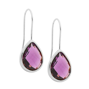 Stainless Steel earrings w/ Amethyst Glass Pear