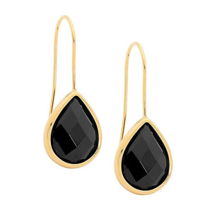 Stainless Steel earrings w/ Black Glass Pear & Gold IP Plating