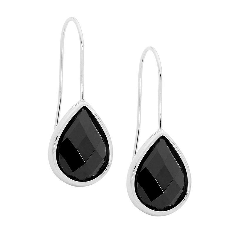 Stainless Steel earrings w/ Black Glass Pear