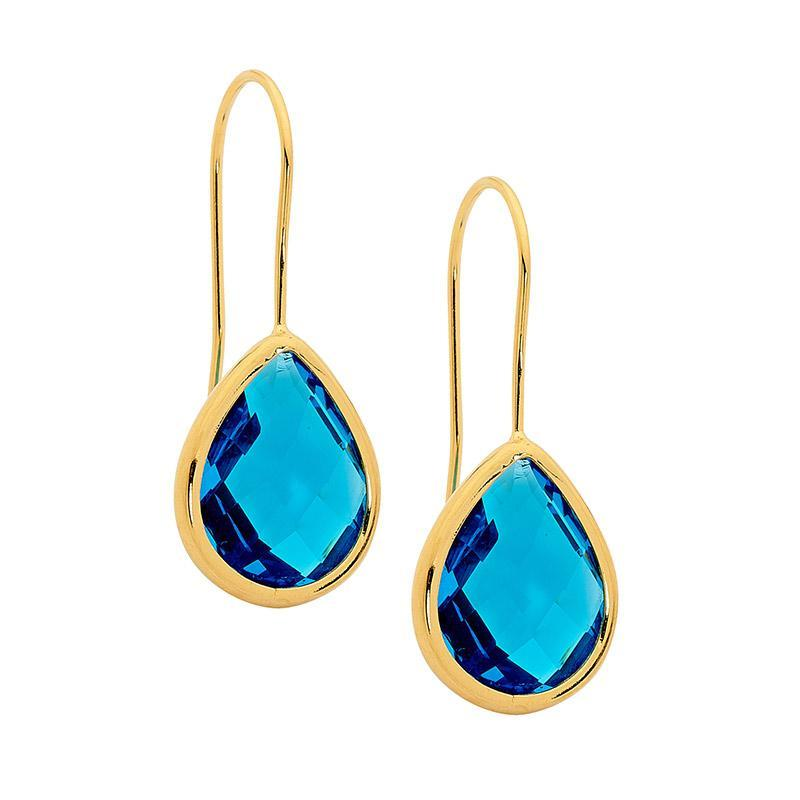 Stainless Steel earrings w/ Blue Glass Pear & Gold IP Plating