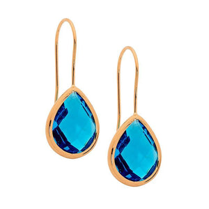 Stainless Steel earrings w/ Blue Glass Pear & Rose Gold IP Plating