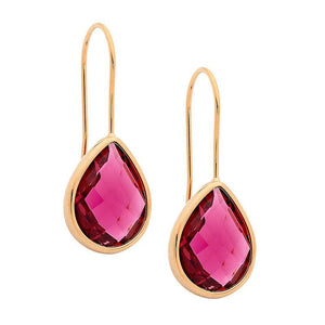 Stainless Steel earrings w/ Pink Glass Pear & Rose Gold IP Plating