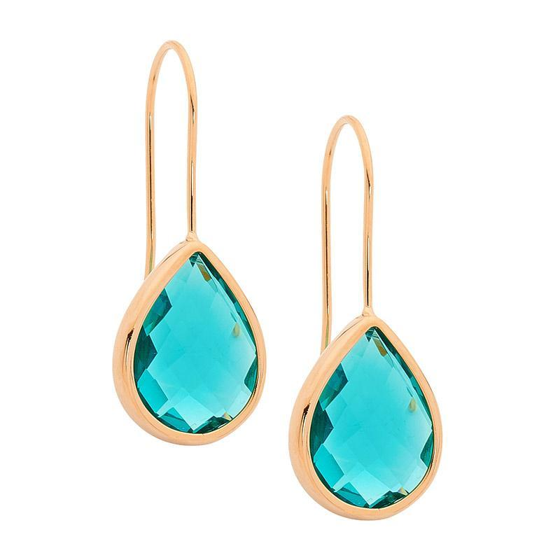 Stainless Steel earrings w/ Turquoise Glass Pear & Rose Gold IP Plating