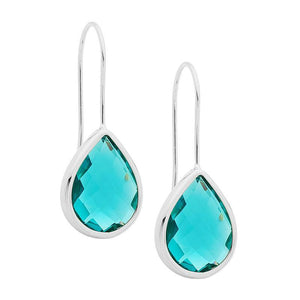 Stainless Steel earrings w/ Turquoise Glass Pear