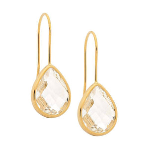 Stainless Steel earrings w/ Clear Glass Pear & Gold IP Plating