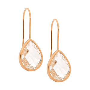 Stainless Steel earrings w/ Clear Glass Pear & Rose Gold IP Plating