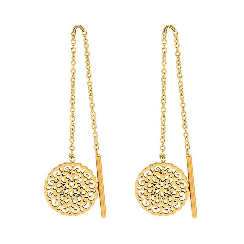 Stainless Steel Thread earrings w/ Filigree Disk & Gold IP Plating