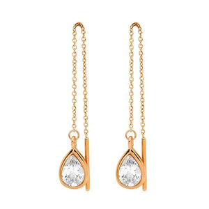 Stainless Steel thread earrings w/ WH CZ Pear & Rose Gold IP Plating