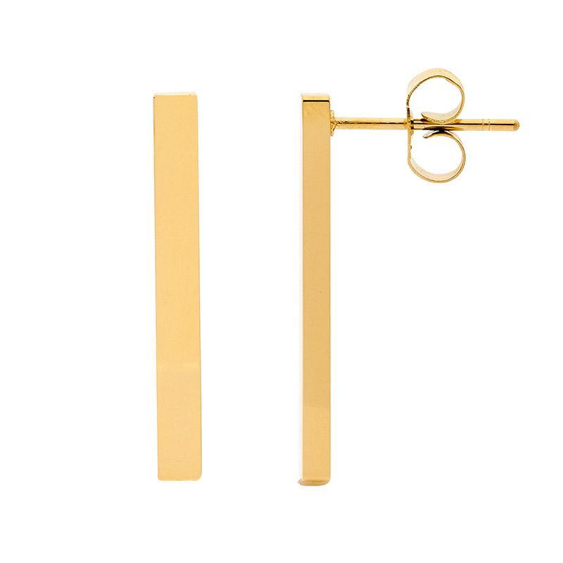 Stainless Steel 24mm Bar Earrings w/ Gold IP Plating