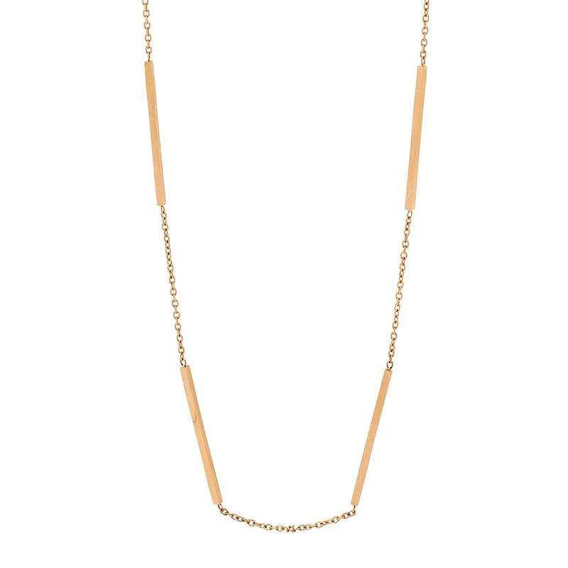 Stainless Steel 42cm necklace w/ 4 bars & Gold IP Plating