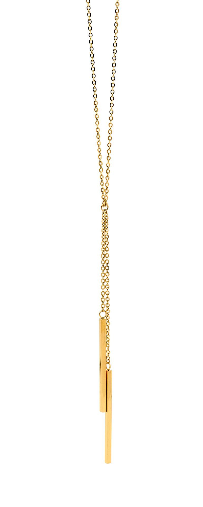 Stainless Steel 42cm Necklace, 2x drop Bars w/ Gold IP Plating
