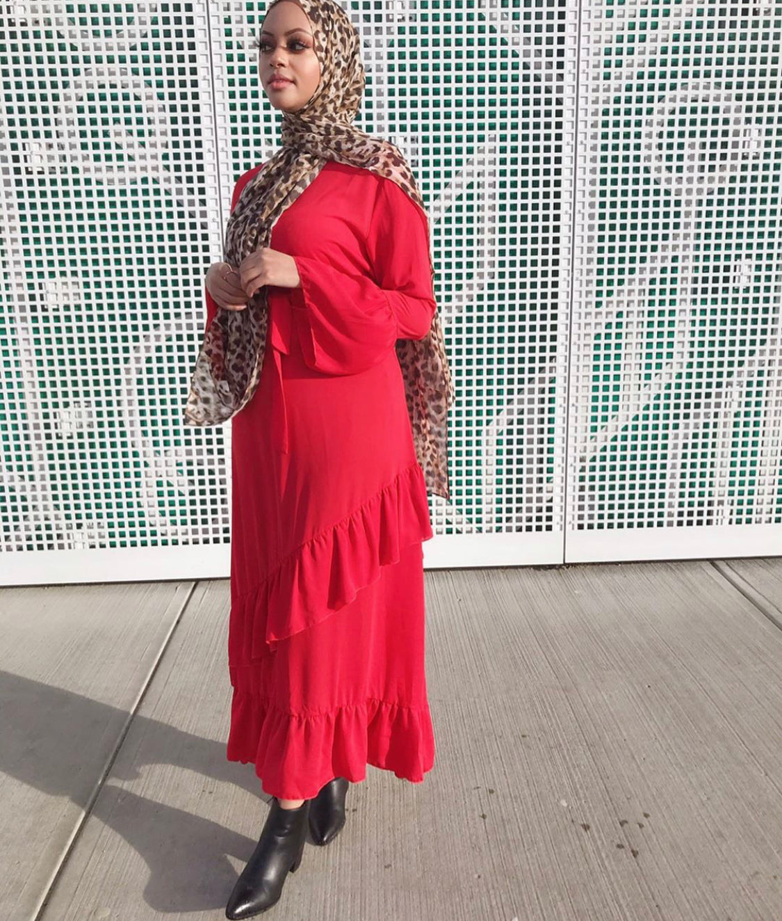 Shakina - Red Ruffle Layer Maxi Dress