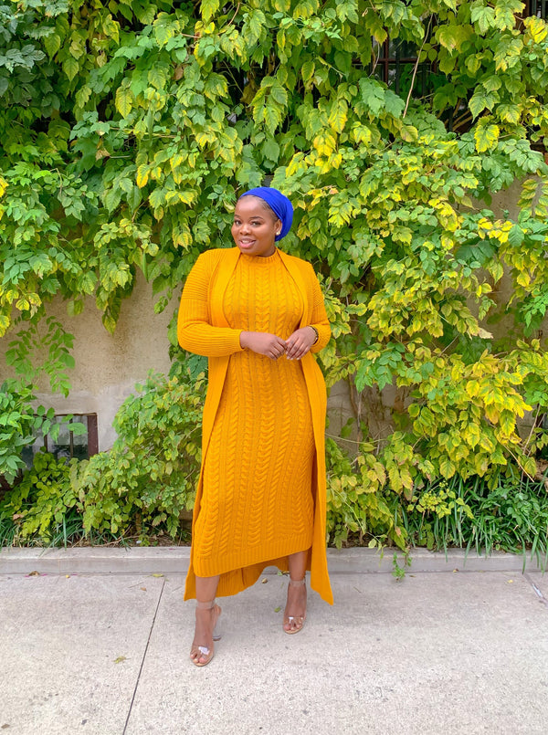 Mustard Two Pieces Knitted Sets