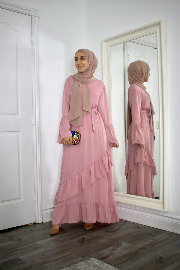 Jemima- Dusty Pink Ruffles Layer Maxi Dress