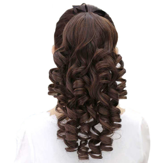 Curly Synthetic Heat Resistant Ponytail Clip In Hair Extensions In