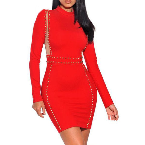 2c9cd30d494 Deer Lady Women Red Bandage Dress Rayon 2017 Party Dress Long Sleeve  Bodycon Dress With Bead
