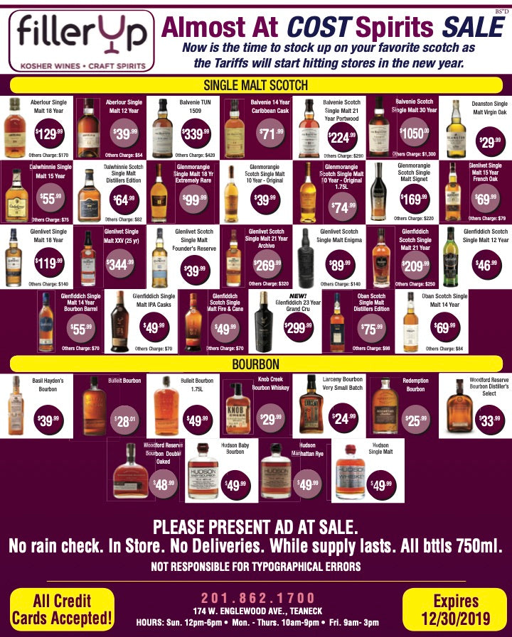 FillerUp Kosher Wines - December Sale 2019