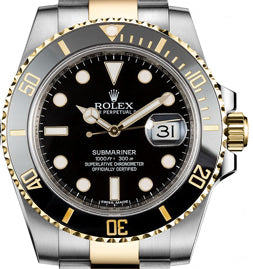 ROLEX SUBMARINER: With Black Dial and Black/ Gold Ceramic Bezel