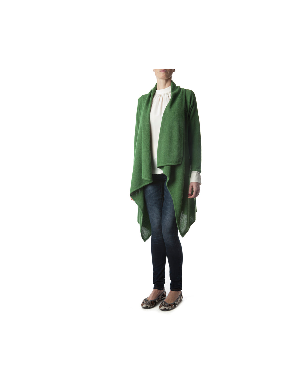 Link Cardigan-Alicia Peru Sustainable Alpaca - green color - front view