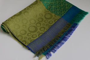 Cuzco Alpaca & Silk Shawl Blue/Mustard Animal Print