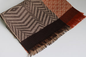 Cali Alpaca & Silk Brown/Brick Animal Print Shawl