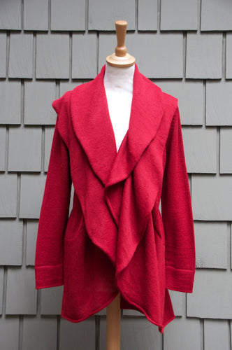 Zolapa Cardigan-Alicia Peru Sustainable Alpaca - red color front view