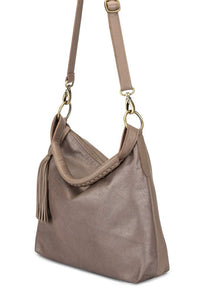 Gray Metallic Leather Nomad Shoulder Bag with Adjustable Strap