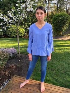 Cotton Cornflower Blue Tunic Shirt