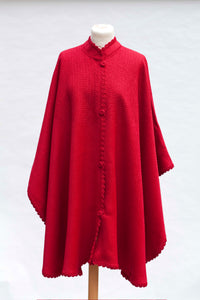 Divina Cape-Alicia Peru Sustainable Alpaca - red color- front fit view