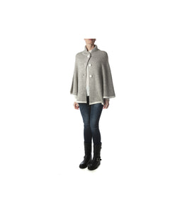 London Cape-Alicia Peru Sustainable Alpaca -front buttoned view