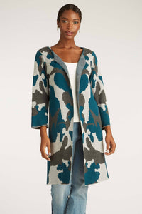Cotton Ink Blot Camouflage Long Cardigan
