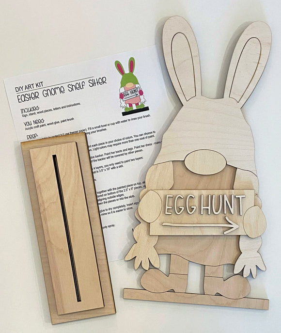 Blank - Gnome Easter Bunny Girl Shelf Sitter