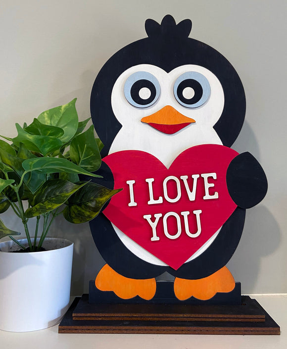 Painted - Valentines Penguin Heart Shelf Sitter