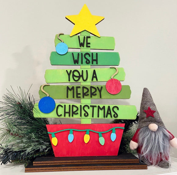Painted -  We wish you a Merry Christmas Shelf Sitter