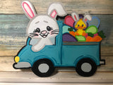 Painted - Bunny in Truck with Eggs & Chick in back