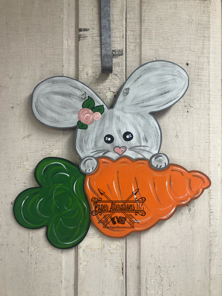 Easter - Painted - Bunny With Carrot