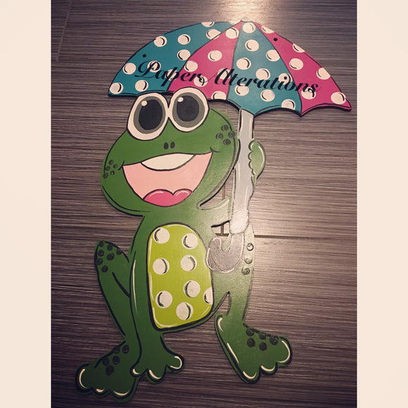 Painted - Frog with Umbrella